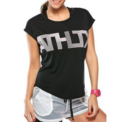 Buy BLACK L Asymmetric Letter Graphic Workout T-Shirt for $16.82 in GearBest store