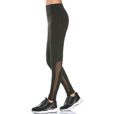 Buy BLACK L HIgh Rise Mesh Insert Workout Leggings for $17.08 in GearBest store
