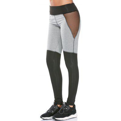 Color Block Workout Leggings with Mesh Panel