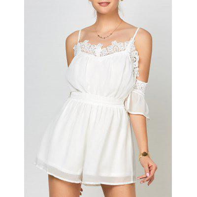 Buy WHITE L Lace Panel Cold Shoulder Romper for $22.17 in GearBest store