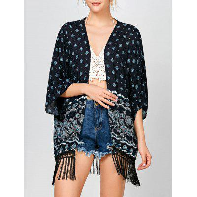 Buy PURPLISH BLUE Fringed Tribal Print Open Front Kimono for $16.30 in GearBest store