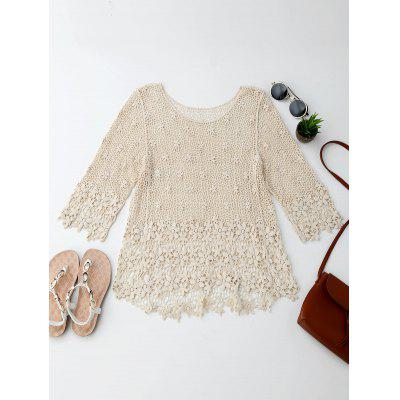 High Low Round Neck Crochet Blouse