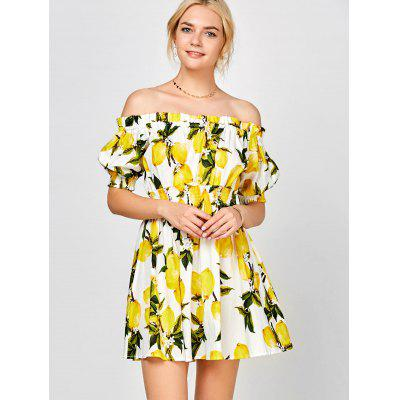 Lemon Print Off The Shoulder DressWomens Dresses<br>Lemon Print Off The Shoulder Dress<br><br>Dresses Length: Mini<br>Material: Polyester<br>Neckline: Off The Shoulder<br>Package Contents: 1 x Dress<br>Pattern Type: Print<br>Season: Spring, Summer<br>Silhouette: A-Line<br>Sleeve Length: Half Sleeves<br>Style: Casual<br>Weight: 0.2800kg<br>With Belt: No