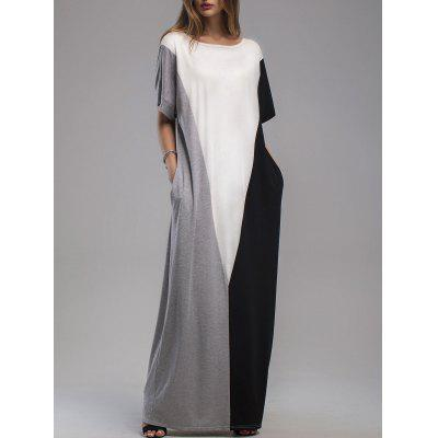 Buy MULTI XL Contrast Panel Maxi Dress with Pockets for $23.43 in GearBest store