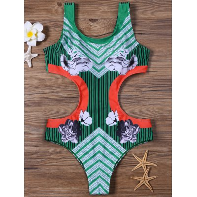 Striped and Floral Padded One-Piece Swimsuit