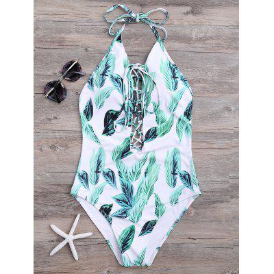 Palm Leaves Backless Lace Up Swimsuit