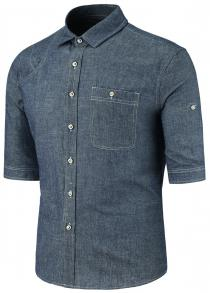 Turndown Collar Half Sleeve Button Pocket Denim Shirt