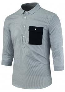 Half Button Three Quarter Sleeve Vertical Stripe Shirt