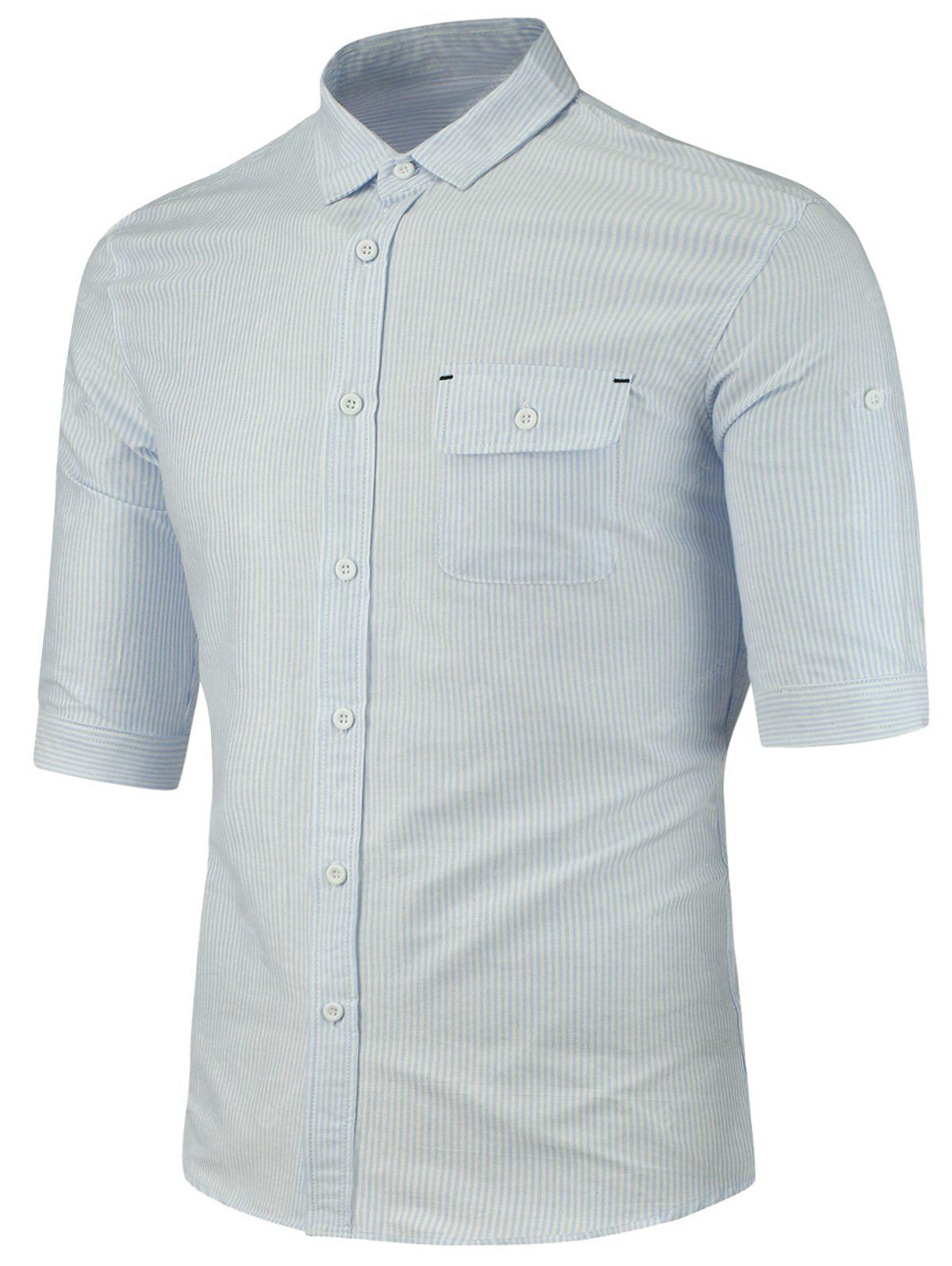 BLUE Turndown Collar Half Sleeve Pocket Vertical Stripe Shirt