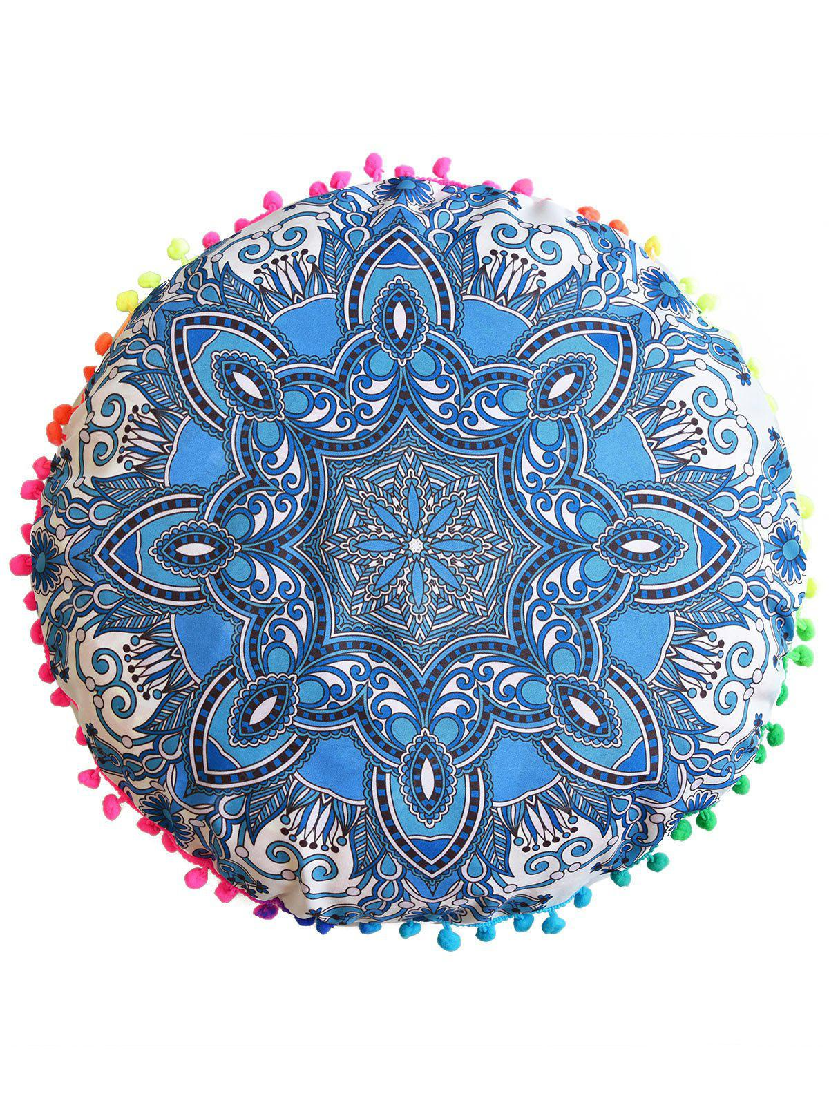 Mandala Print Throw Pouf Cover Round Pillowcase