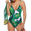 Strappy Palm Leaf Print One Piece Swimsuit - GREEN
