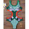 Striped and Floral Padded One-Piece Swimsuit - GREEN