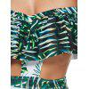 Off The Shoulder Print Underwire Leaf Swimsuit - GREEN