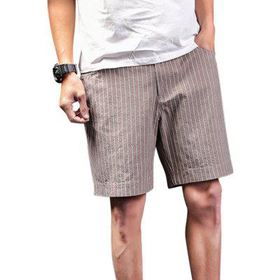Zip Fly Vertical Striped Shorts