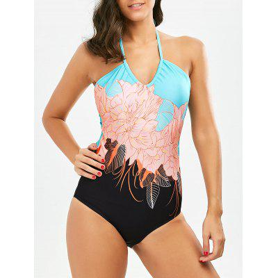 Halter Floral Cut Out One Piece Swimsuit
