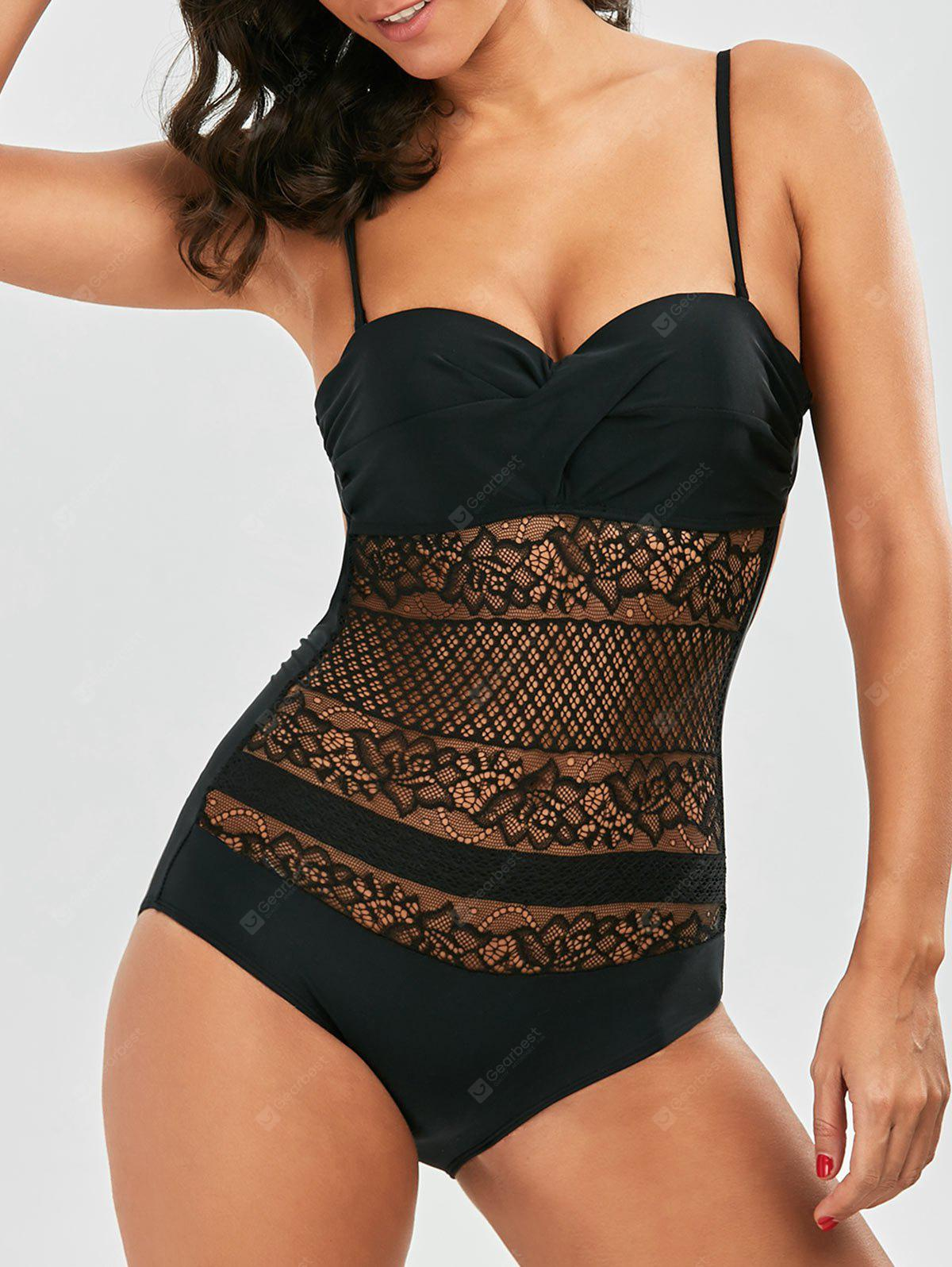 Maillot de bain à motif en dentelle Backless Twist Underwire