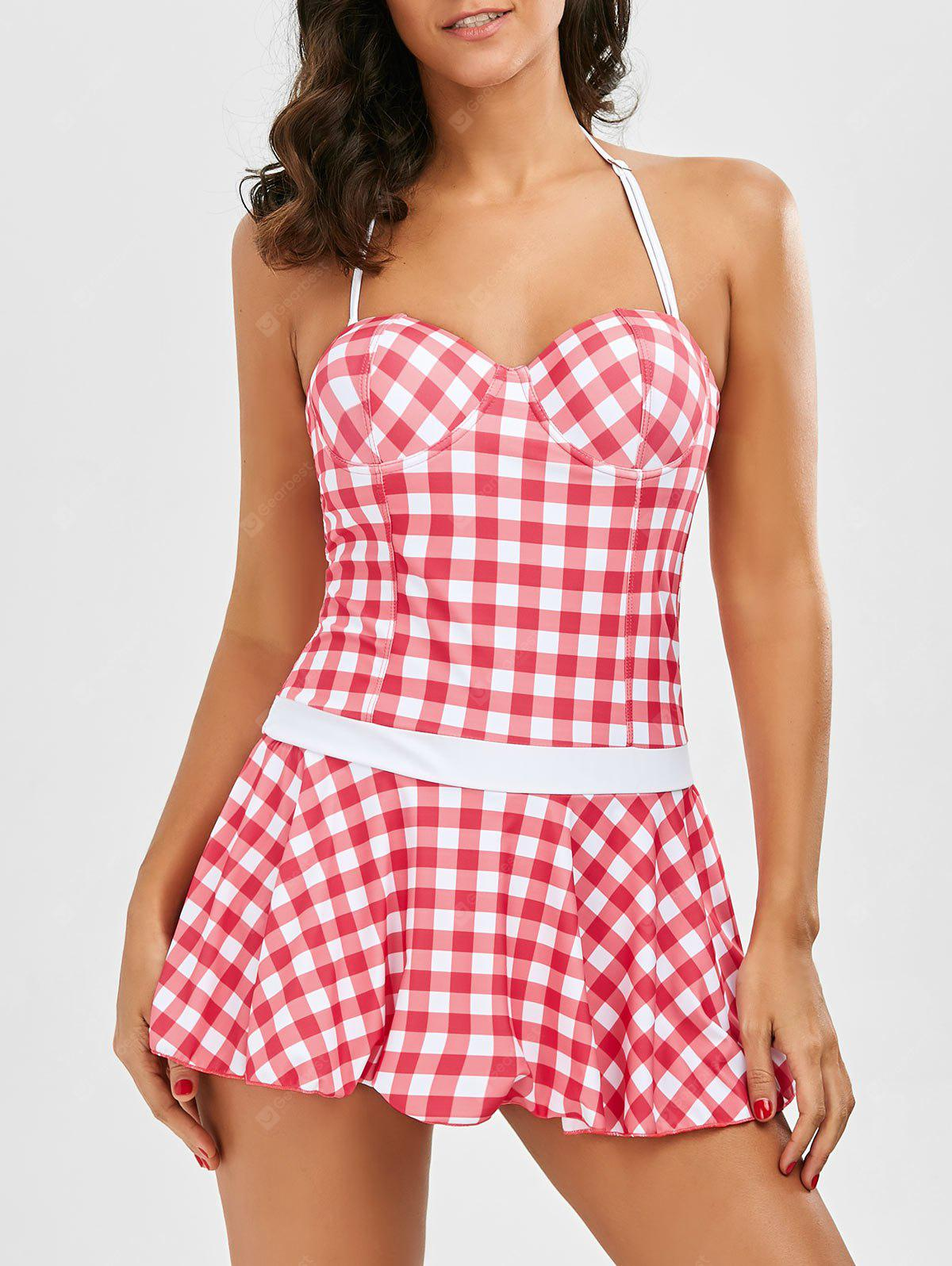 Plaid Push Up Skirted One Piece Swimsuit
