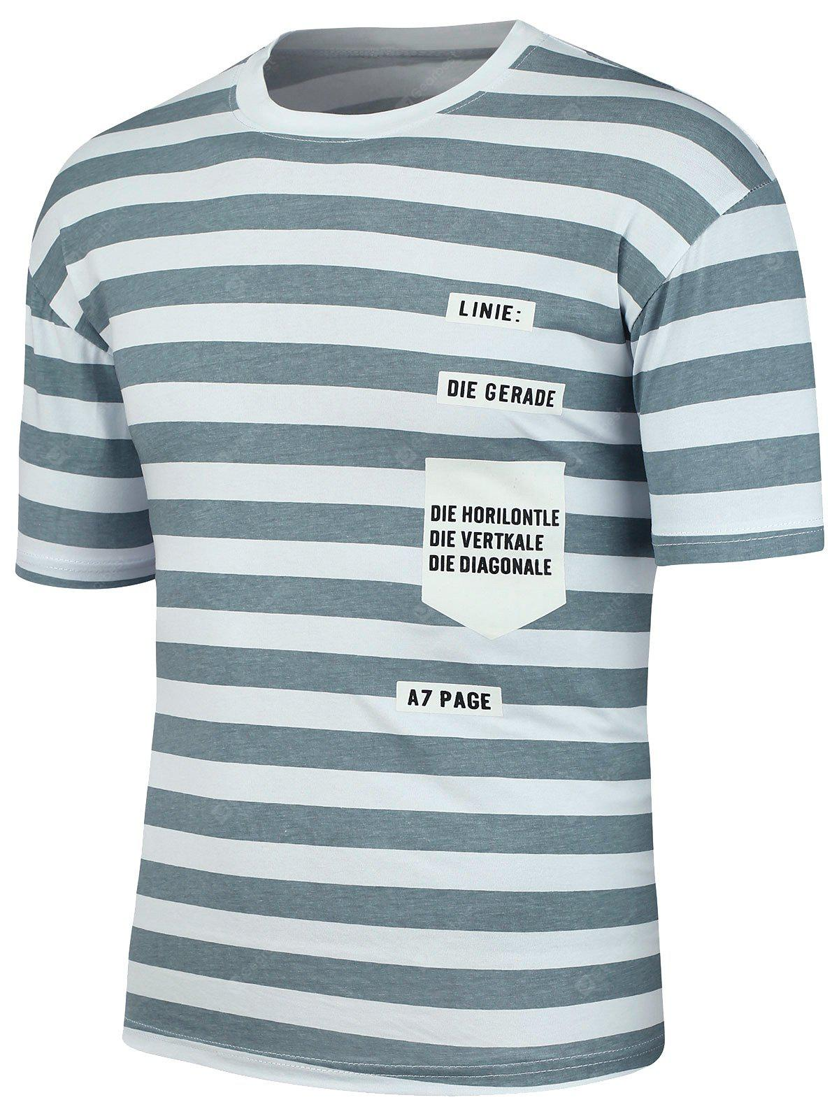 GRAY Letter Patch Stripe Tee