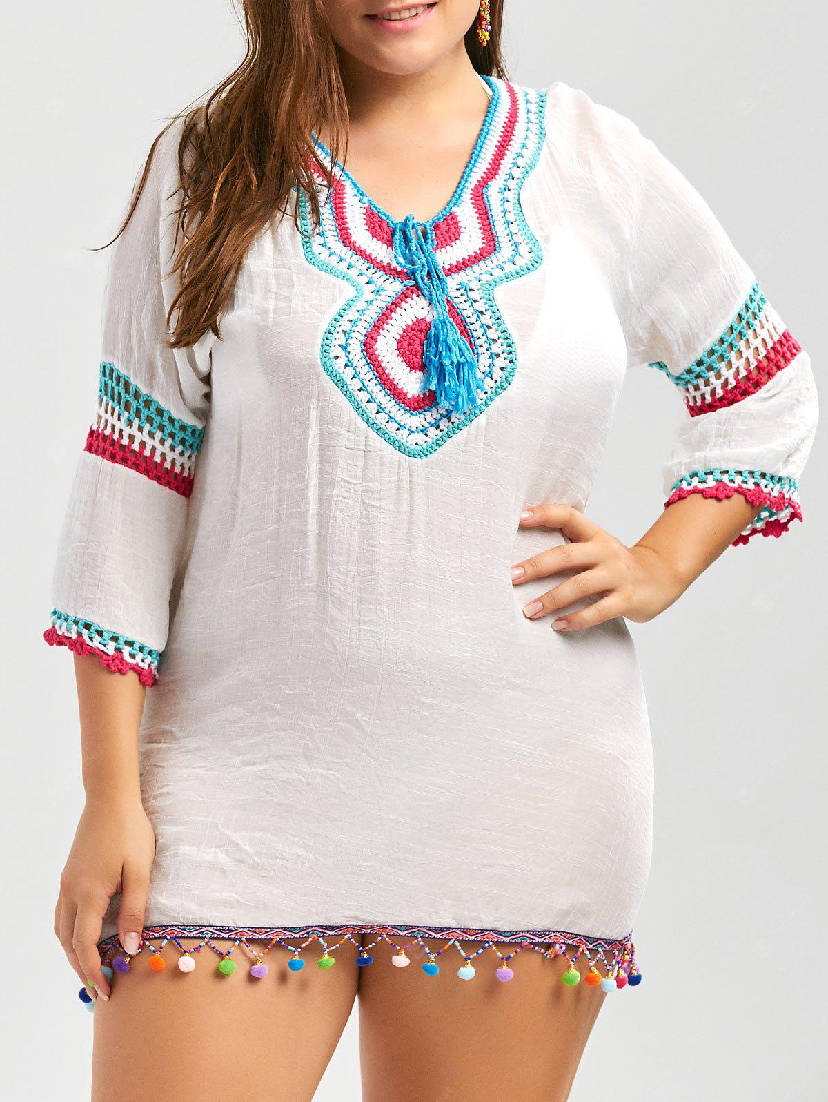 Túnica de franja de talla de crochet Plus Size Cover Up