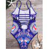 Printed Strappy High Cut One-Piece Swimsuit - BLUE