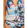Halter Tropical Printd Backless Swimsuit - MULTICOLORE