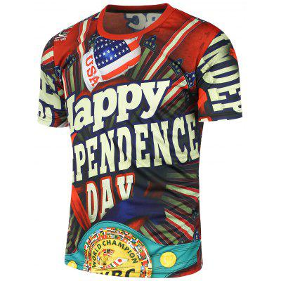 Independence Day American Flag Printed Short Sleeve T-Shirt
