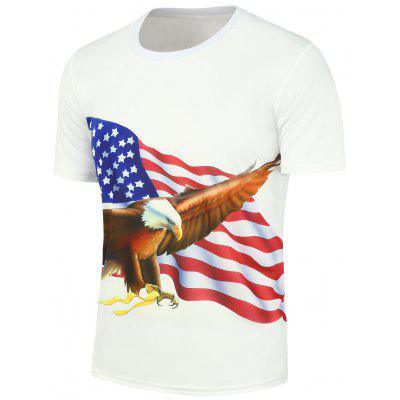3D Eagle American Flag Printed Short Sleeve T-Shirt