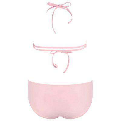 Halter Strappy Junior Bikini SetLingerie &amp; Shapewear<br>Halter Strappy Junior Bikini Set<br><br>Bra Style: Padded<br>Elasticity: Micro-elastic<br>Embellishment: Strappy<br>Gender: For Women<br>Material: Polyester, Spandex<br>Neckline: High Neck<br>Package Contents: 1 x Bra  1 x Panties<br>Pattern Type: Solid Color<br>Support Type: Underwire<br>Swimwear Type: Bikini<br>Waist: Natural<br>Weight: 0.2000kg