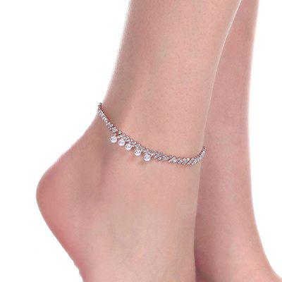 Faux Pearl Rhinestoneed Anklet
