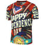 Independence Day American Flag Printed Short Sleeve T-Shirt - COLORMIX