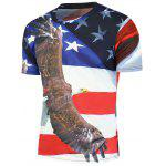 3D Eagle Stars and Stripes Printed T-Shirt - COLORMIX