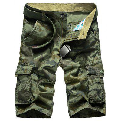 Zip Fly Multi Tasche Camo Cargo Shorts