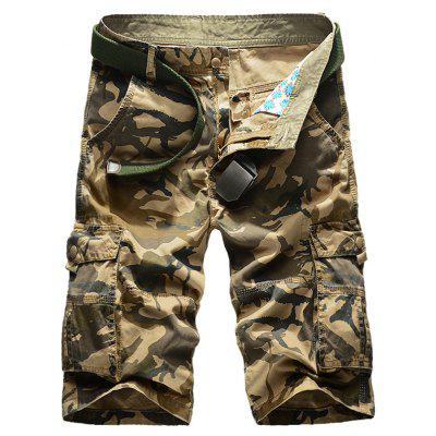 Zip Fly Multi Pockets Camo Cargo Shorts