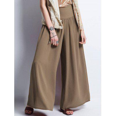 Buy KHAKI L Wide Elastic Waistband Chiffon Palazzo Pants for $33.12 in GearBest store