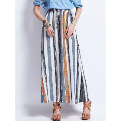 Buy COLORMIX XL Drawstring High Waisted Stripe Maxi Skirt for $33.03 in GearBest store