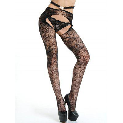 Mesh See-Through Cut Out Crochet TightsLingerie &amp; Shapewear<br>Mesh See-Through Cut Out Crochet Tights<br><br>Embellishment: Bowknot,Hollow Out,Ruffles<br>Material: Polyester<br>Package Contents: 1 x Tights<br>Pattern Type: Solid<br>Weight: 0.1100kg