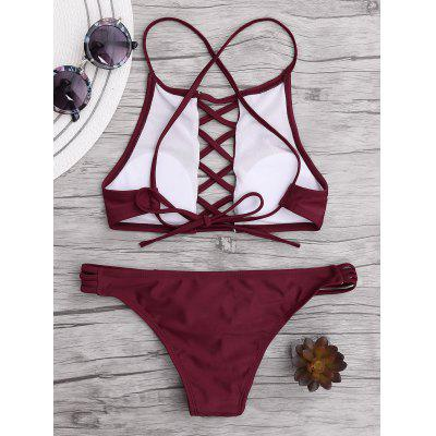 Lace Up Criss Cross Bikini SetLingerie &amp; Shapewear<br>Lace Up Criss Cross Bikini Set<br><br>Bra Style: Padded<br>Elasticity: Elastic<br>Embellishment: Lace up<br>Gender: For Women<br>Material: Nylon, Spandex<br>Neckline: Spaghetti Straps<br>Package Contents: 1 x Bra  1 x Briefs<br>Pattern Type: Solid Color<br>Support Type: Wire Free<br>Swimwear Type: Bikini<br>Waist: Low Waisted<br>Weight: 0.2700kg
