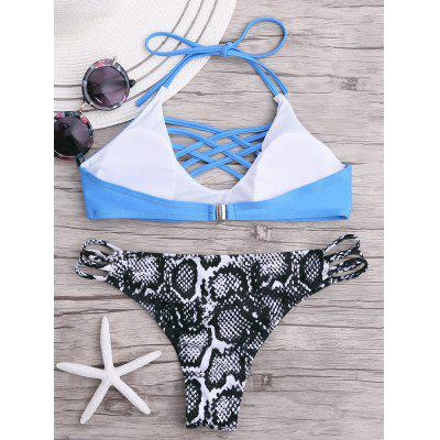 Halter Cross Strappy Bikini SetLingerie &amp; Shapewear<br>Halter Cross Strappy Bikini Set<br><br>Bra Style: Padded<br>Elasticity: Micro-elastic<br>Embellishment: Strappy<br>Gender: For Women<br>Material: Polyester, Spandex<br>Neckline: Halter<br>Package Contents: 1 x Bra  1 x Panties<br>Pattern Type: Print<br>Support Type: Wire Free<br>Swimwear Type: Bikini<br>Waist: Natural<br>Weight: 0.2000kg