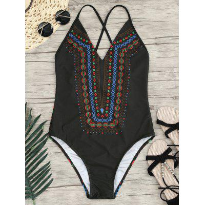 Halter Cross Back One-Piece Bathing Suit