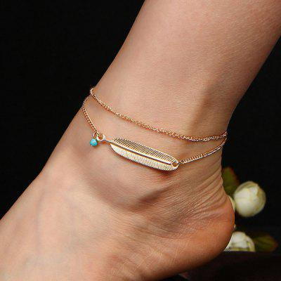 Faux Turquesa Liga Feather Chain Anklet