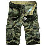 Zip Fly Multi Pockets Camo Cargo Shorts - VERT