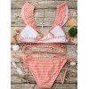 Flounce Striped Wrap String Bikini Set - LARANJA COR-DE-ROSA