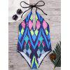 Argyle Print Halter Low Back Bathing Suit - COLORMIX