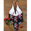 Backless Plunging Neckline One Piece Floral Swimwear - BLACK