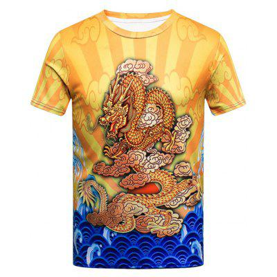 Color Block Dragon Print Short Sleeve T-shirt