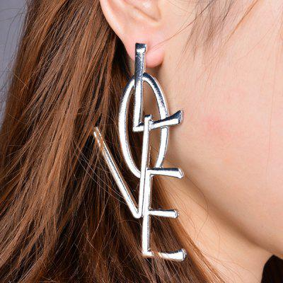 Buy SILVER Statement Letter Love Alloy Earrings for $4.47 in GearBest store