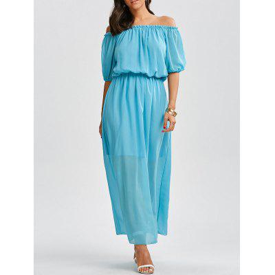 Buy LAKE BLUE L Off The Shoulder High Waist Chiffon Maxi Dress for $22.63 in GearBest store