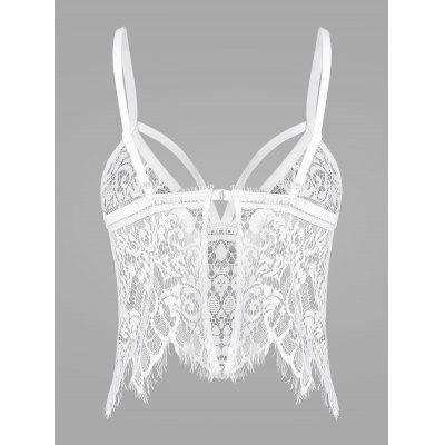 Lace See Thru Strappy Lingerie BraLingerie &amp; Shapewear<br>Lace See Thru Strappy Lingerie Bra<br><br>Bra Style: Seamless<br>Closure Style: Back Closure<br>Cup Shape: Half Cup(1/2 Cup)<br>Embellishment: Lace<br>Materials: Polyester<br>Package Contents: 1 x Bra<br>Pattern Type: Solid<br>Strap Type: Adjusted-straps<br>Style: Lolita<br>Support Type: Wire Free<br>Weight: 0.1000kg