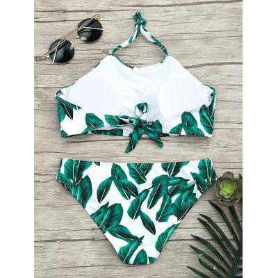 Halter Leaves Print Tropical Bikini SetLingerie &amp; Shapewear<br>Halter Leaves Print Tropical Bikini Set<br><br>Bra Style: Padded<br>Elasticity: Elastic<br>Embellishment: Backless<br>Gender: For Women<br>Material: Nylon, Spandex<br>Neckline: Halter<br>Package Contents: 1 x Bra  1 x Briefs<br>Pattern Type: Plant<br>Support Type: Wire Free<br>Swimwear Type: Bikini<br>Waist: Natural<br>Weight: 0.1700kg
