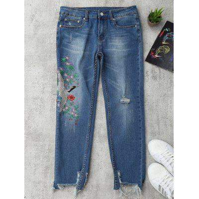 Bird Embroidered Ripped Jeans